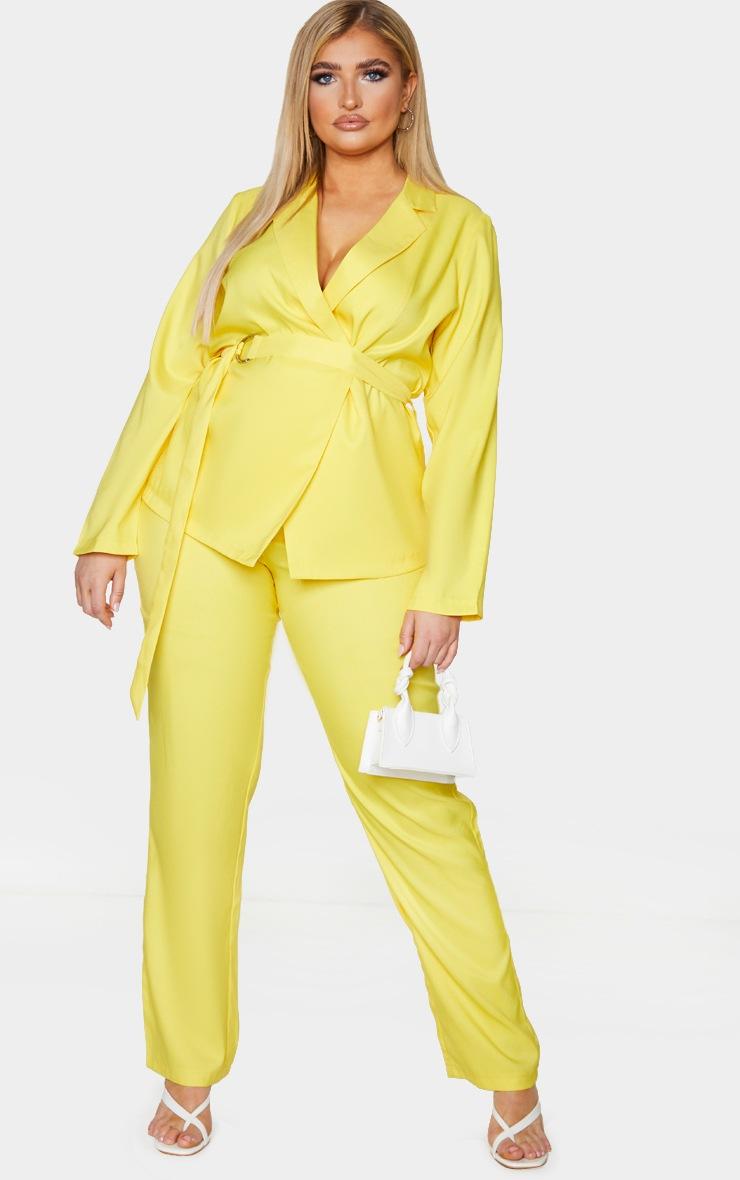 Plus Bright Yellow Woven Belt Detail Blazer 3
