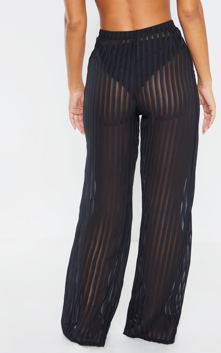 Black Sheer Stripe Wide Leg Beach Trouser 4