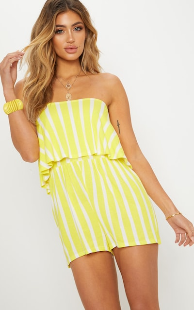 Yellow Striped Bandeau Layered Playsuit