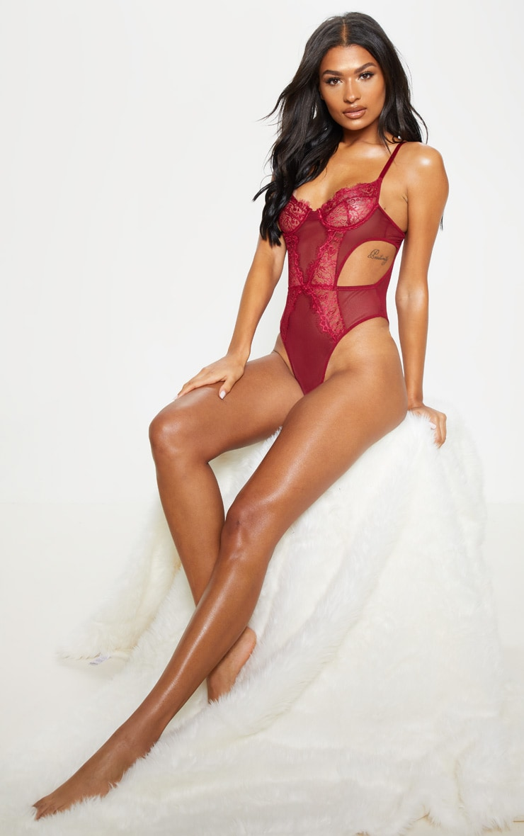 Plum Underwired Cut Out Lace And Mesh Body 4