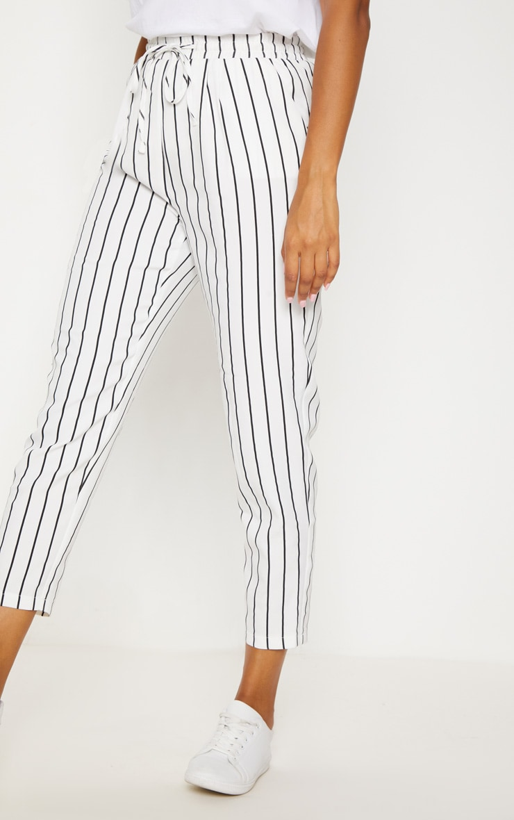 Diya White Pinstripe Casual Trousers 2