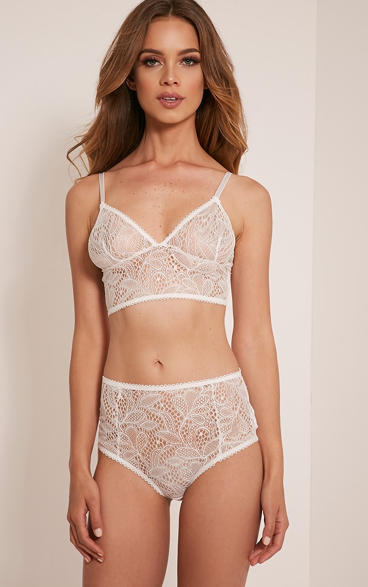 Leena White Lace High Waisted Knickers 1