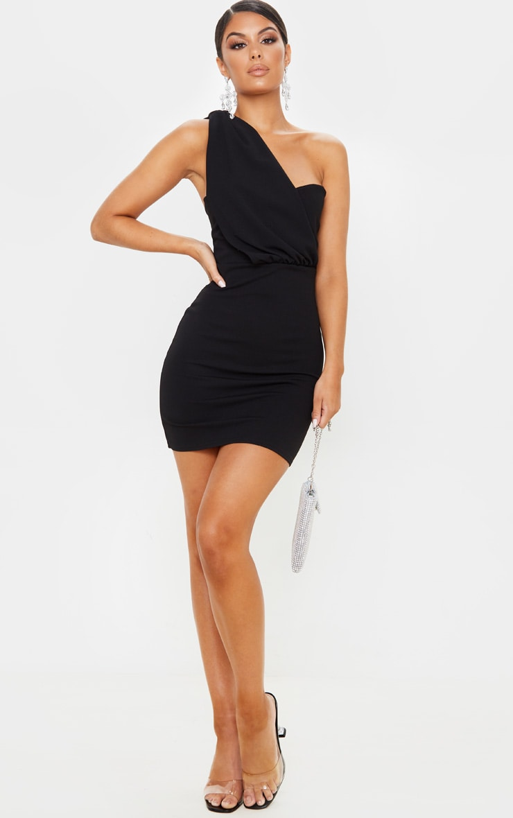 Black One Shoulder Draped Bodycon Dress 4