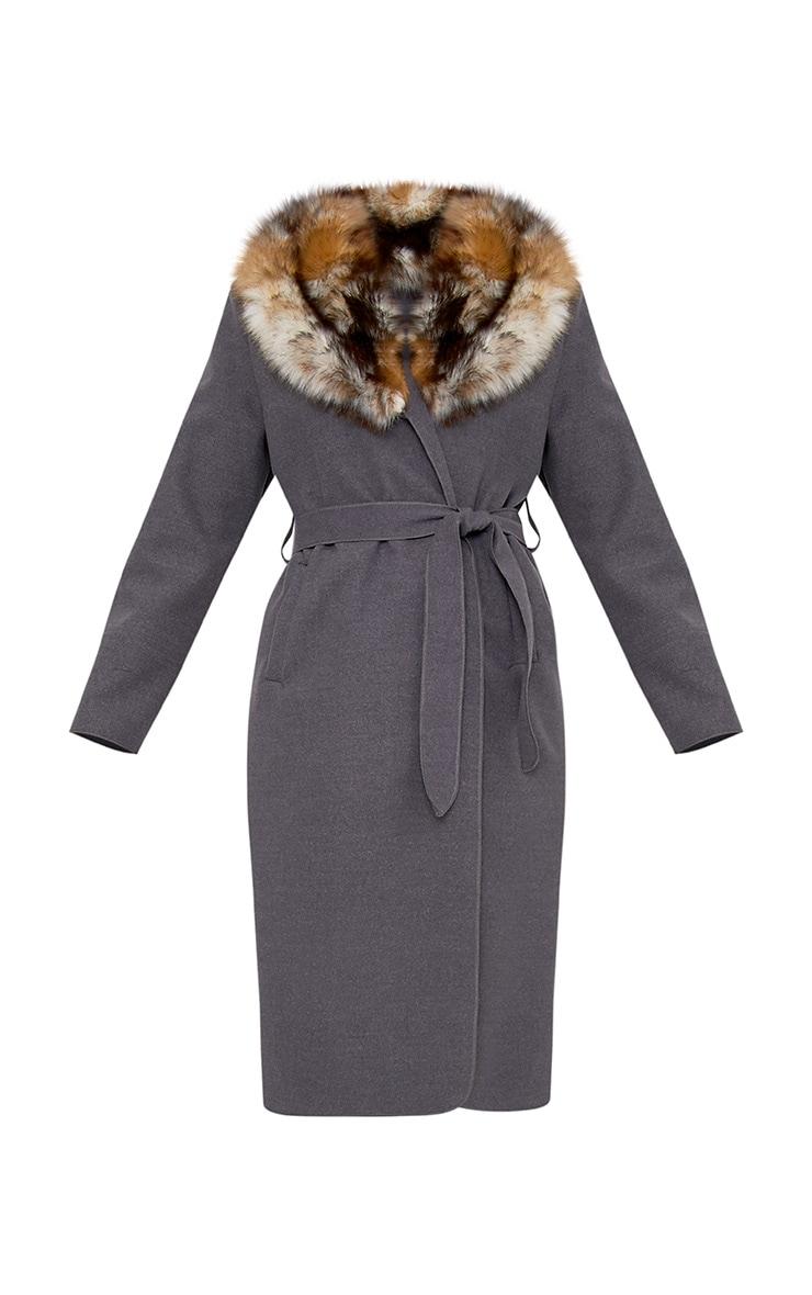 Eira Grey Faux Fur Collar Oversized Belt Coat 3
