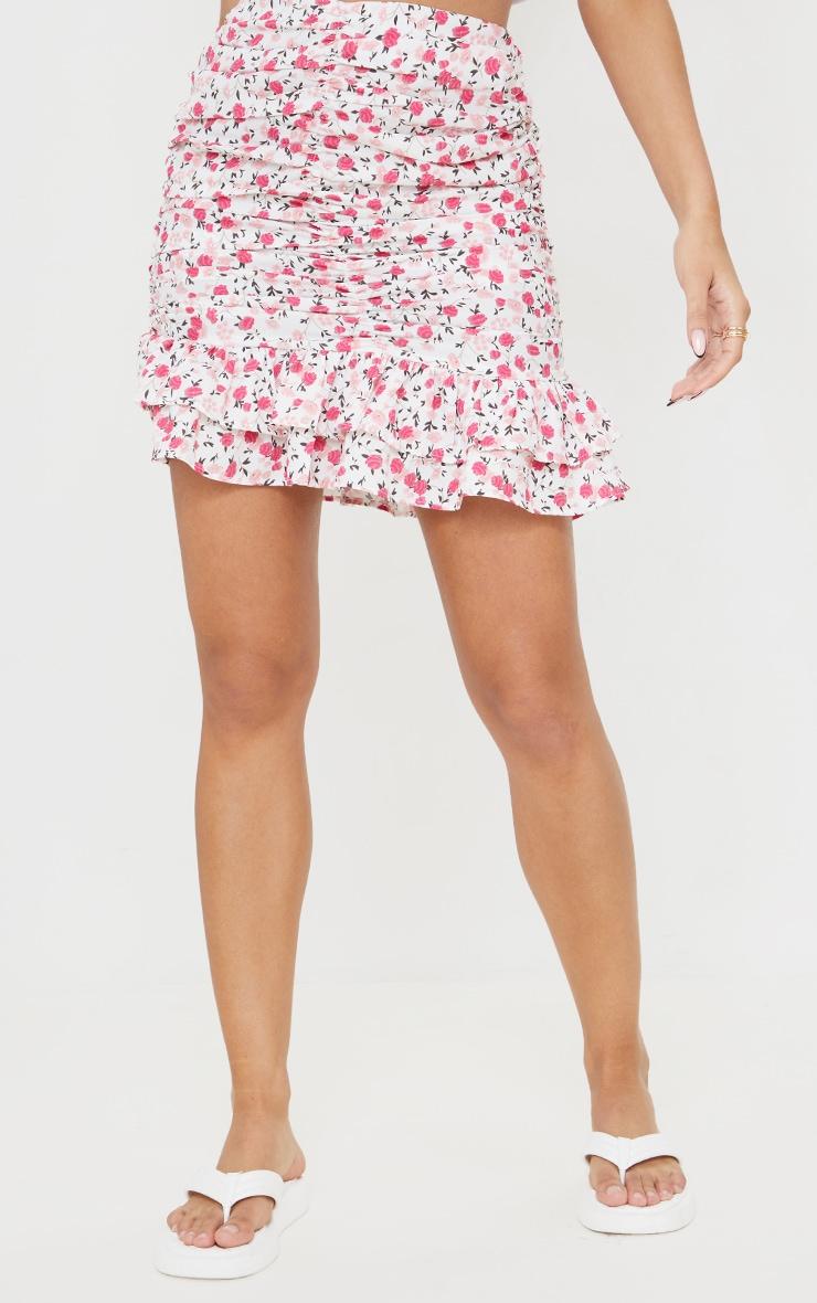 Pink Botanical Floral Ruched Mini Skirt 2