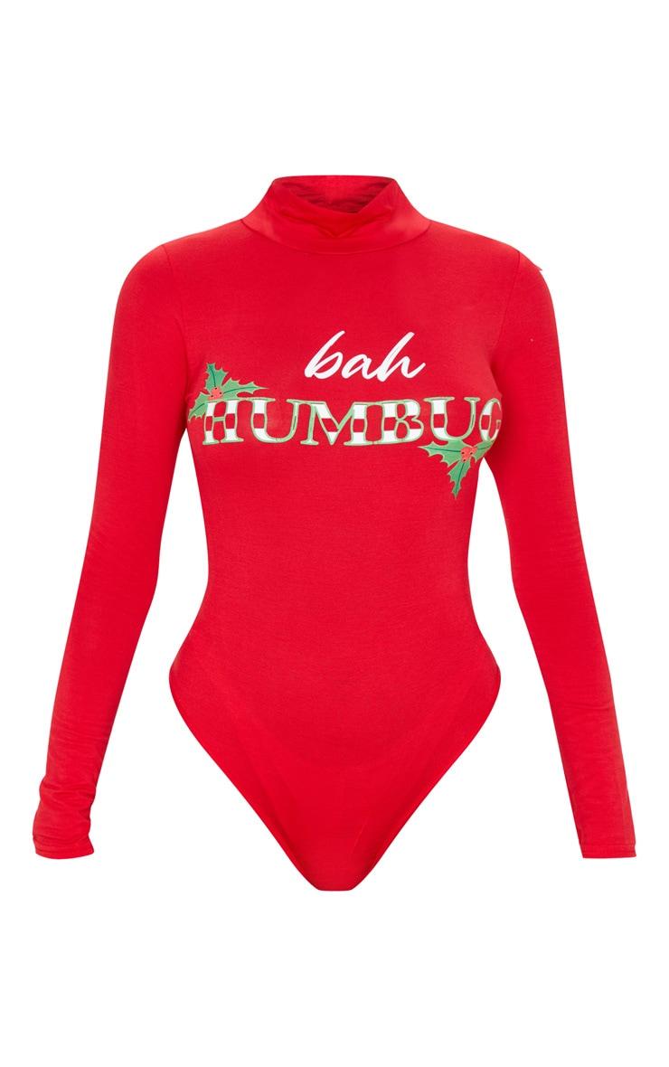 Red Bah Humbug High Neck Bodysuit 3