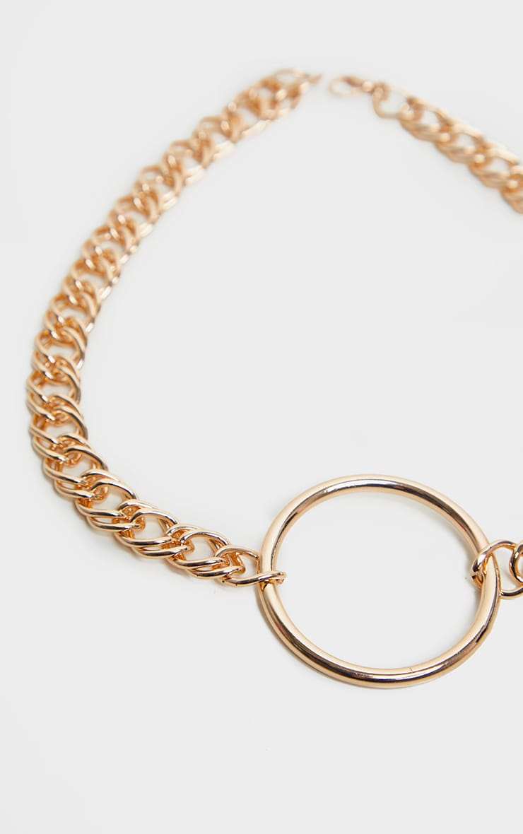 Gold Double Link Chunky Circle Necklace 3