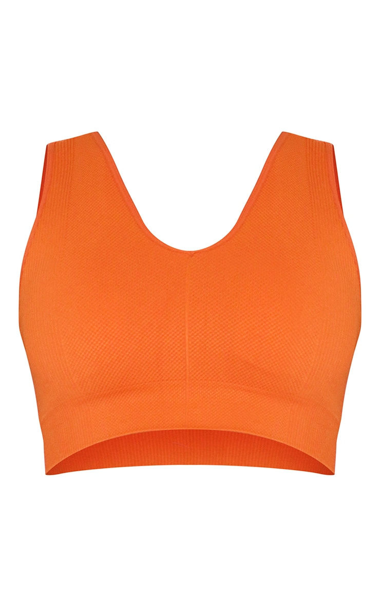 Burnt Orange Textured Seamless V Neck Cropped Sports Top 5