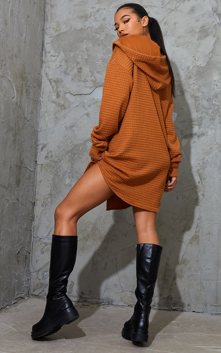 Camel Waffle Button Up Hooded Sweat Dress 2