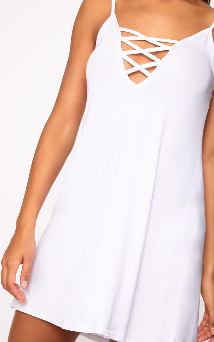White Jersey Lace Up Front Detail Swing Dress 5