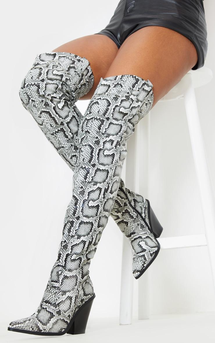 Grey Thigh High Croc Western Boot 2
