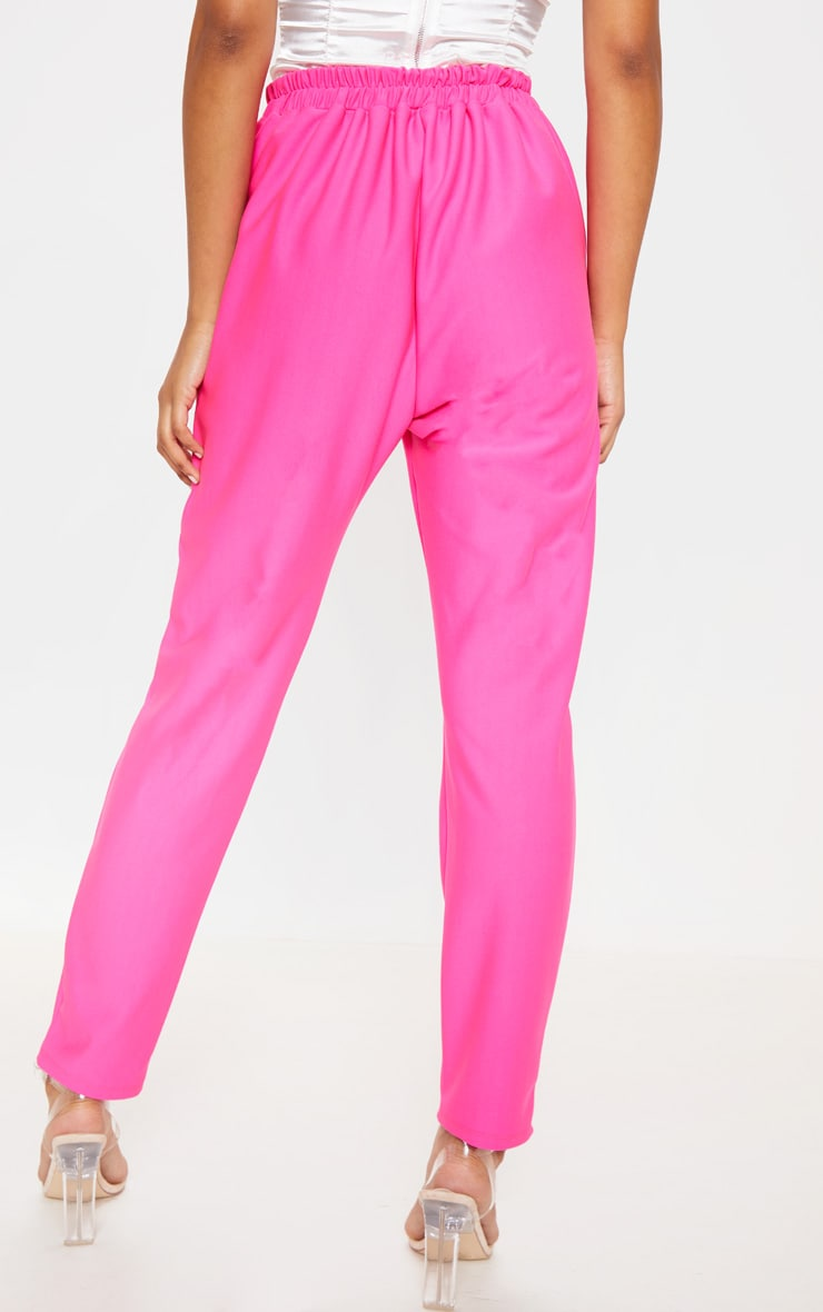 Bright Pink Woven Formal Elasticated Waist Skinny Pants 3