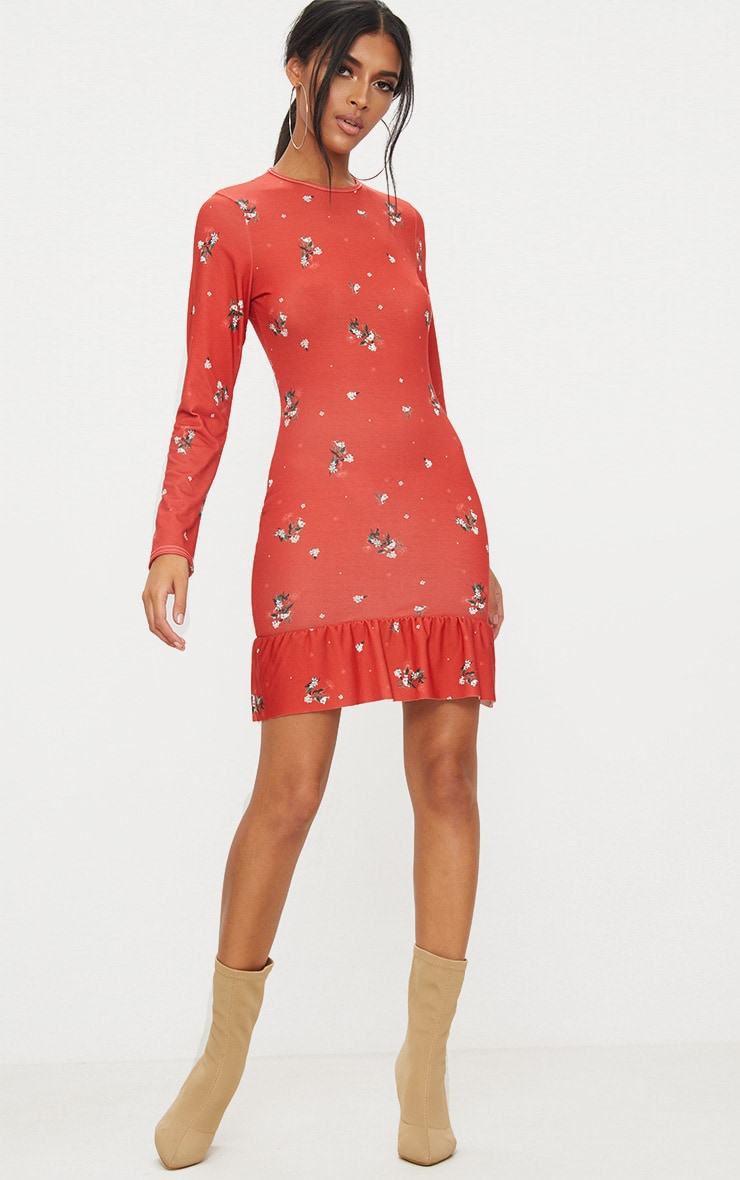 Red Floral Jersey Long Sleeve Frill Dress 4
