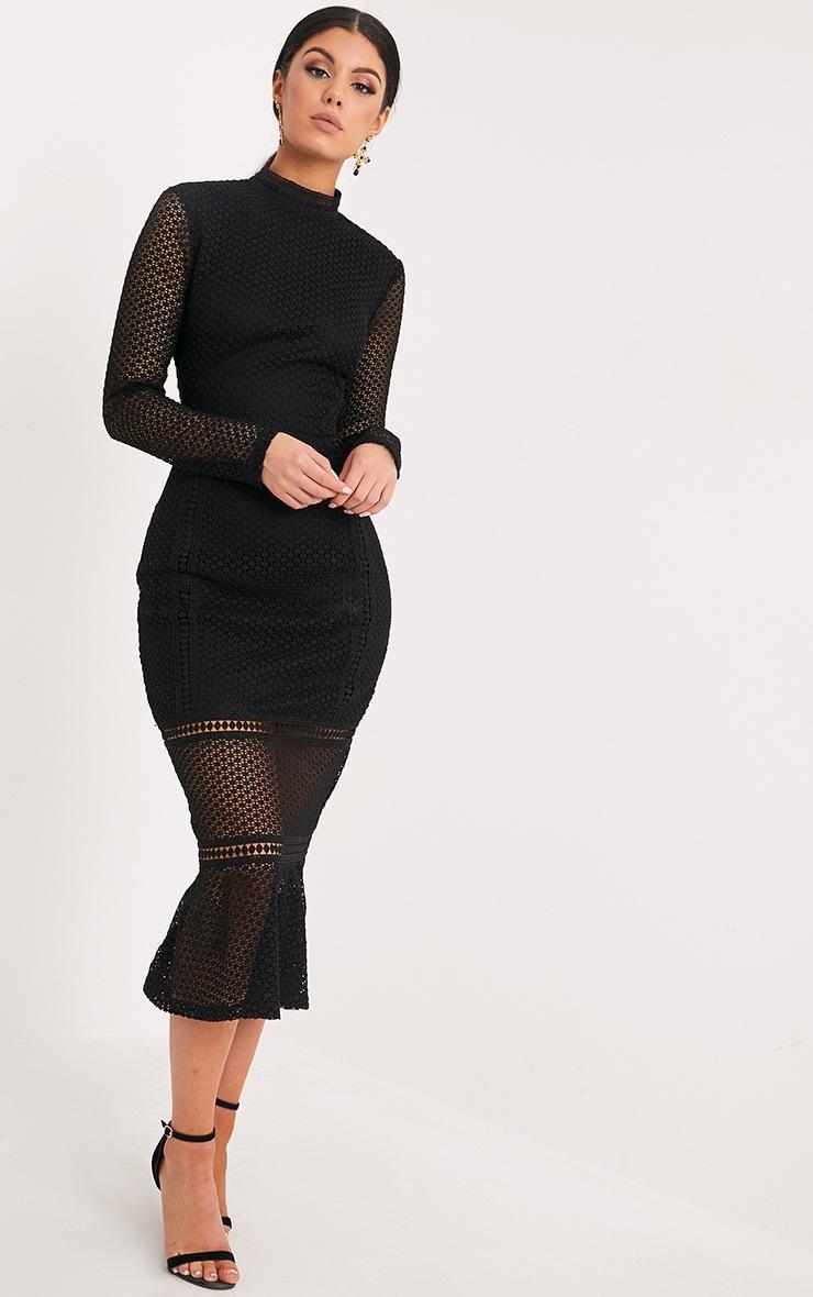 Annie Black Lace High Neck Frill Midaxi Dress 2