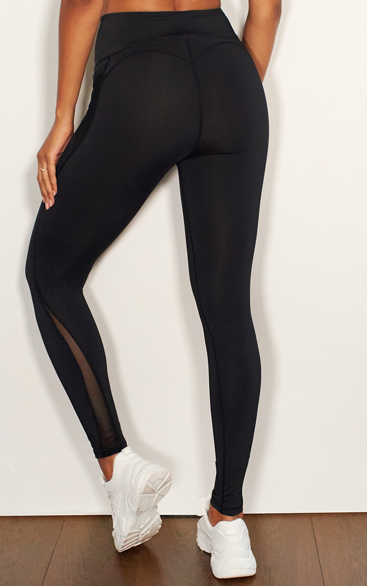 Black Mesh Pocket Detail Luxe Gym Legging 3
