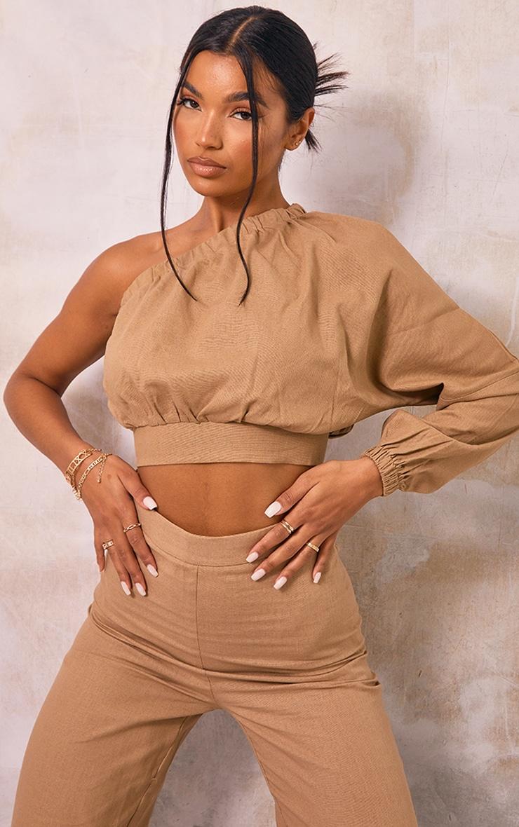 Camel Linen One Shoulder Long Top