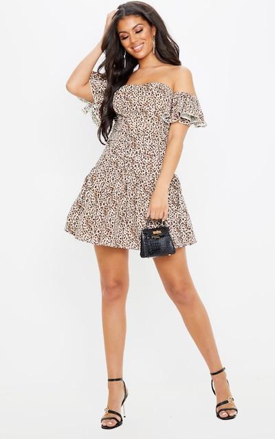 Tan Leopard Print Bardot Pleated Waist Skater Dress