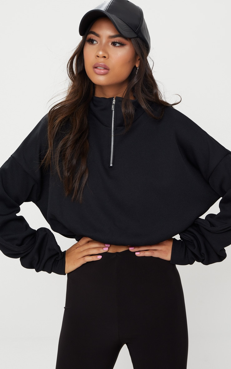 Black Rib Zip Front Long Sleeve Sweater  1