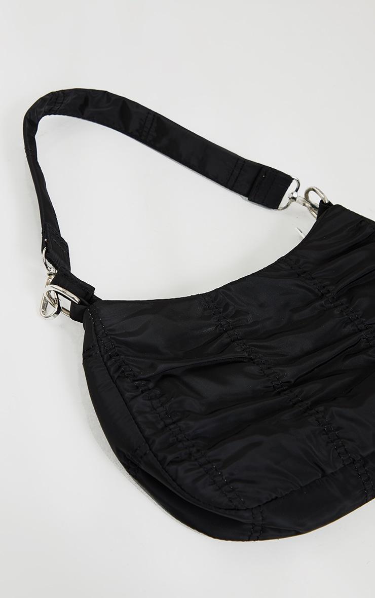 Black Small Ruched Shoulder Bag 4