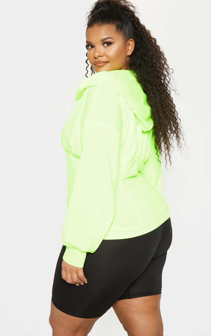 Plus Neon Lime Ruched Zip Hoodie 2