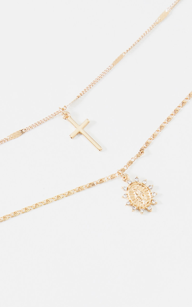 Gold Cross And Renaissance Charm Delicate Layering Necklace 3
