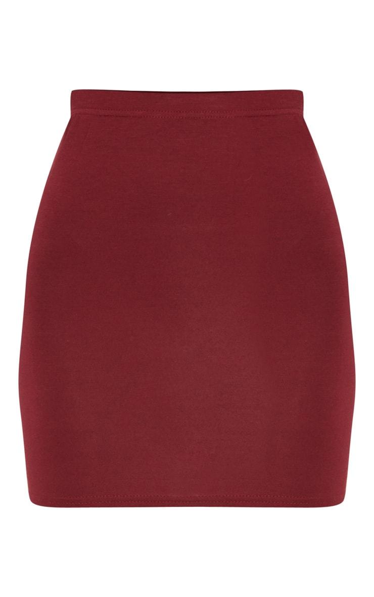 Burgundy Basic Jersey Mini Skirt 3