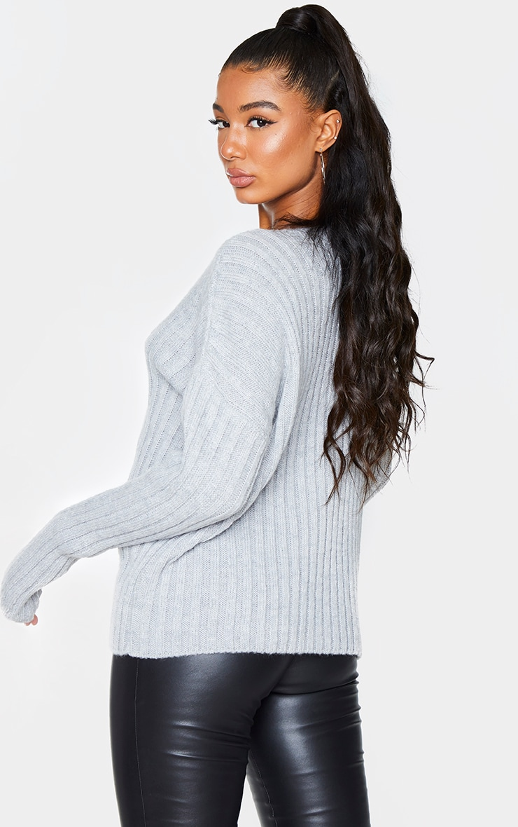 Light Grey Oversized Soft Knit Cardigan 2
