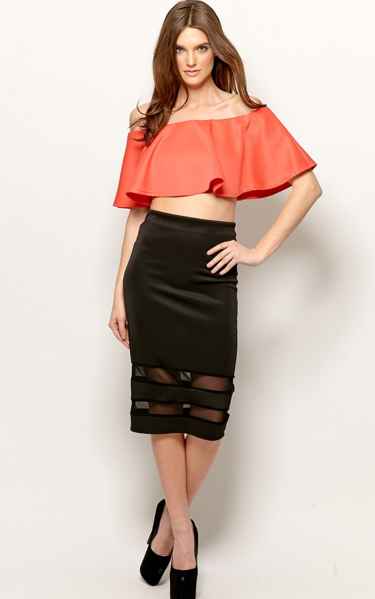 Allie Coral Frill Crop Top 3
