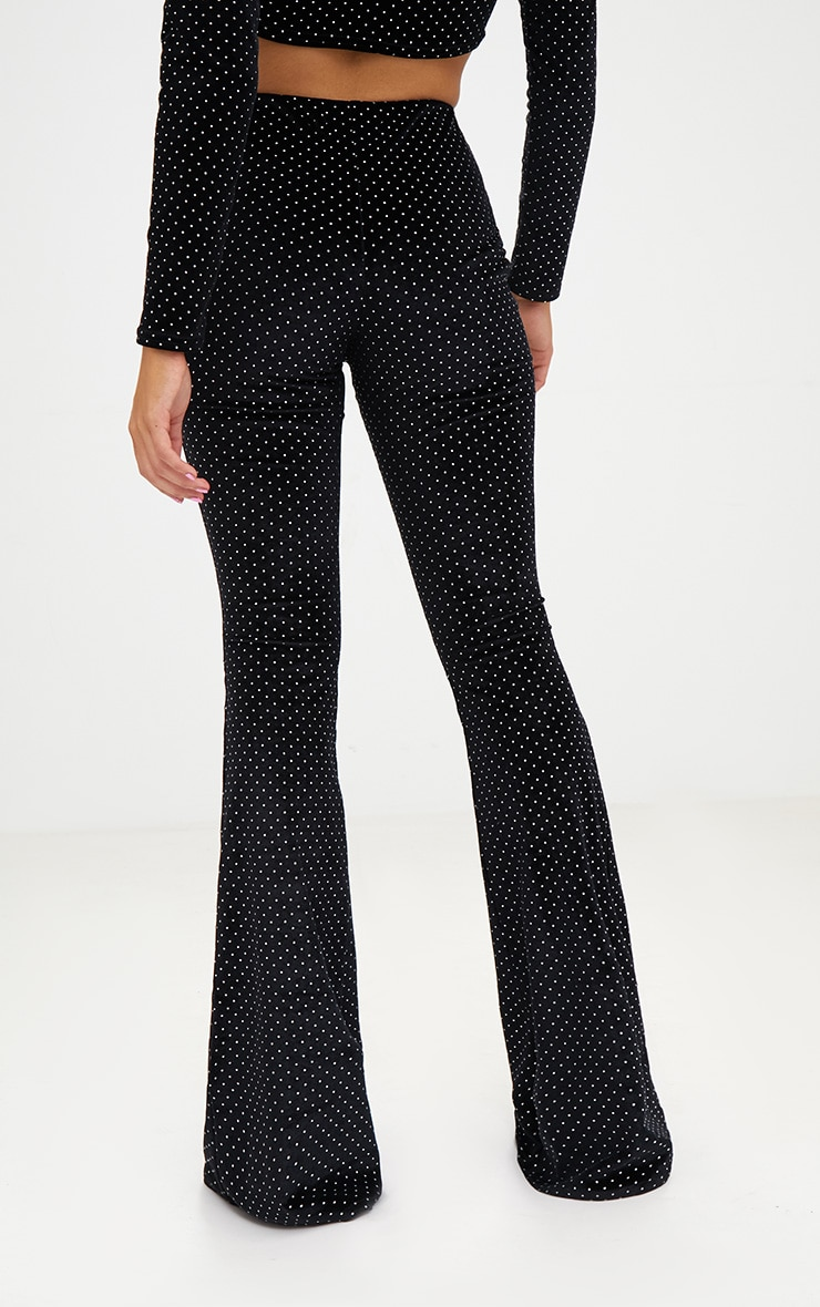 Petite Black Studded Velvet Flared Trousers 4