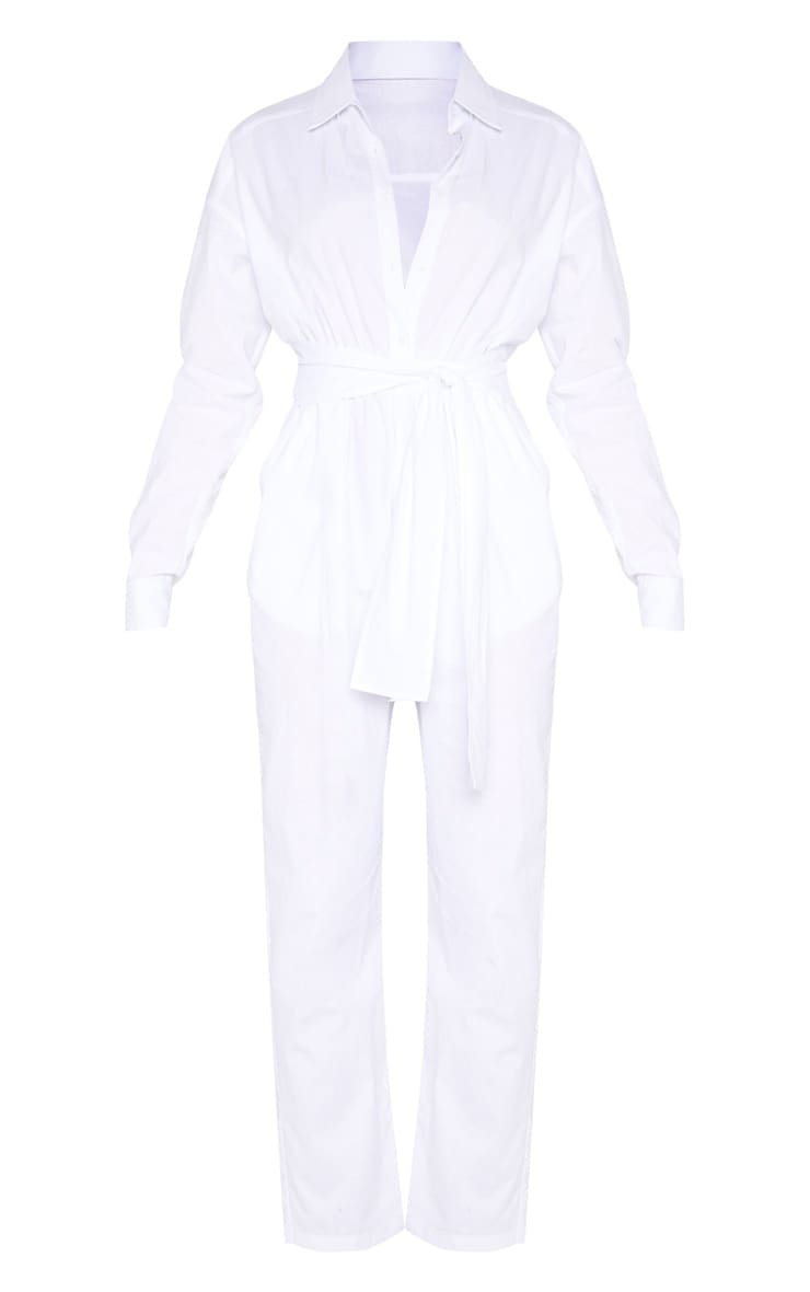 White Tie Waist Shirt Jumpsuit 3