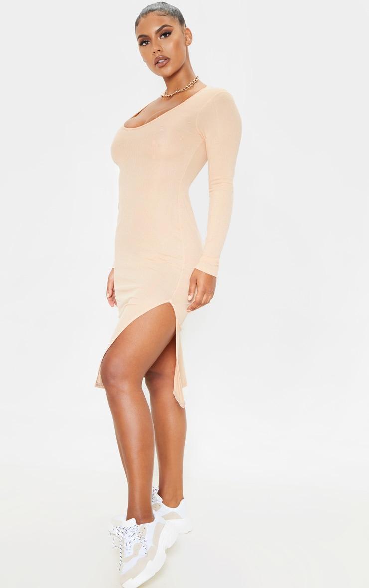 Fawn Long Sleeve Ribbed Scoop Neck Split Midi Dress 3