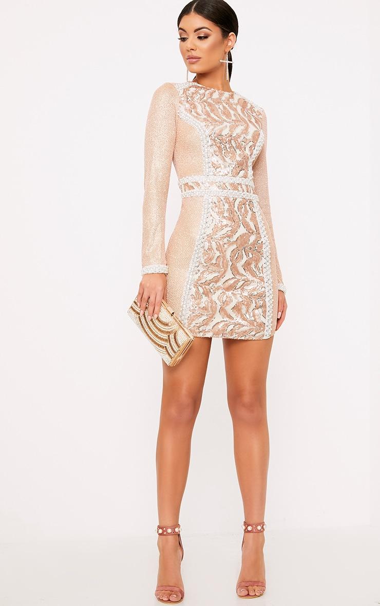 Selenia Rose Gold Premium Sequin Panelled Bodycon Dress 4