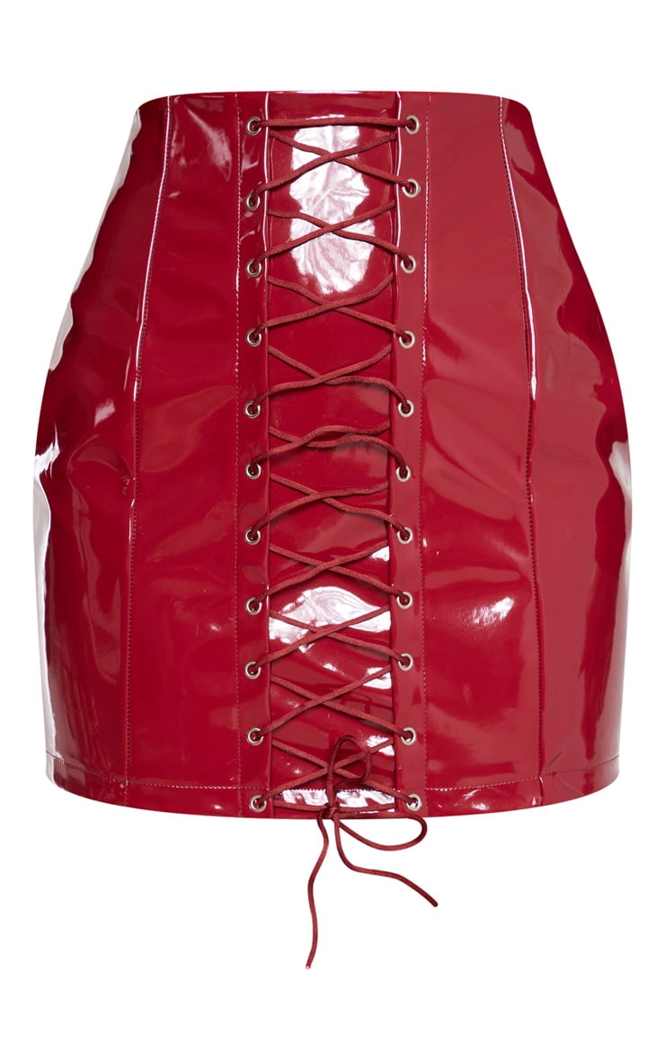 Burgundy Vinyl Lace Up Mini Skirt 3