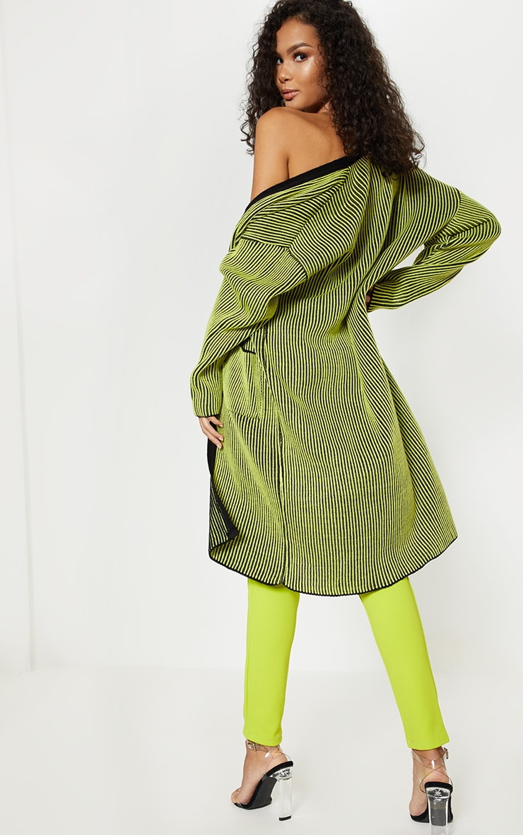Lime Two Tone Knitted Cardigan  2