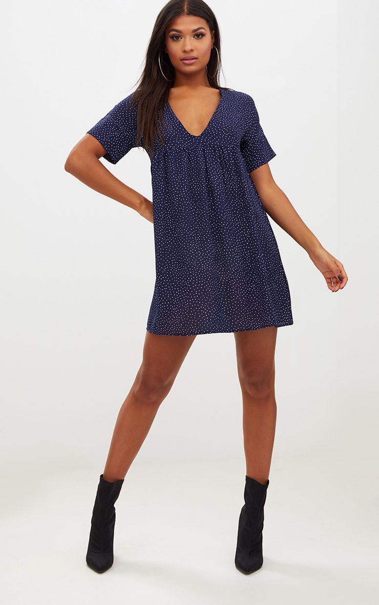 Navy Polka Dot Smock Dress 1