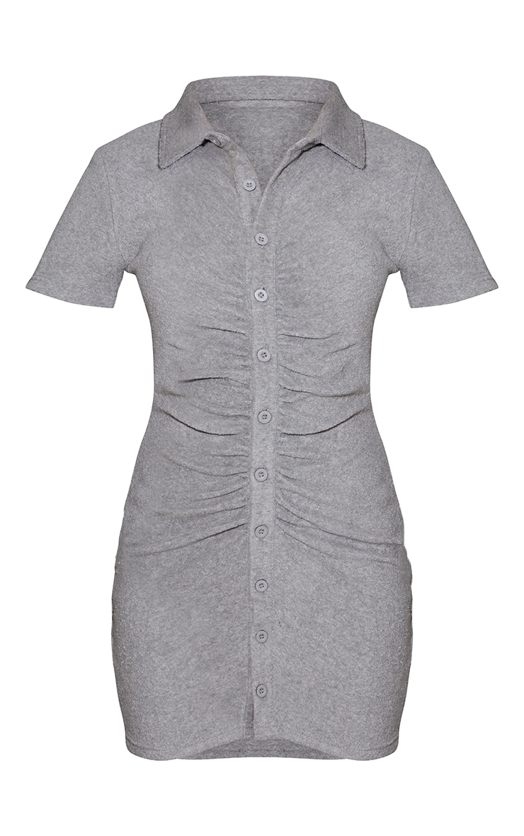 Grey Ruched Button Down Collar Detail Towelling Bodycon Dress 5