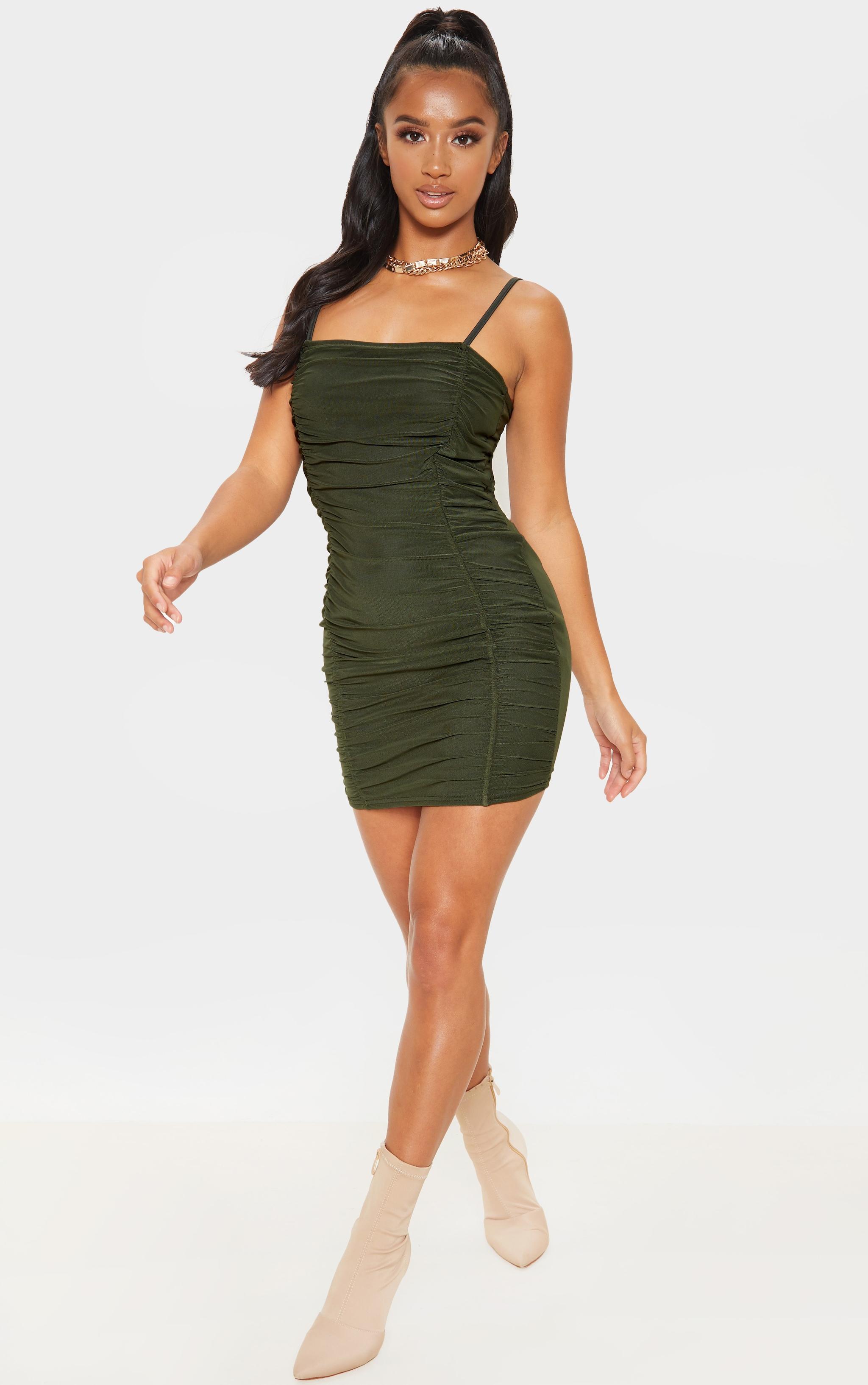 Petite Olive Khaki Strappy Ruched Front Mini Dress 4