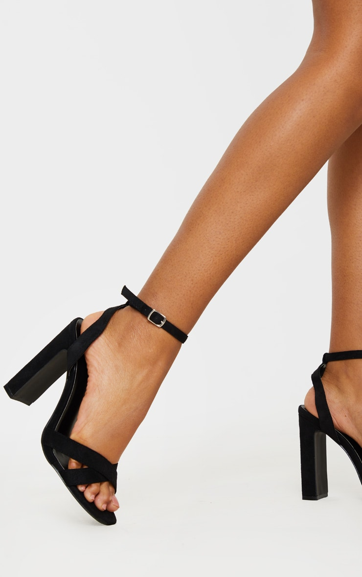Black Cross Strap Block Heel Sandal 2
