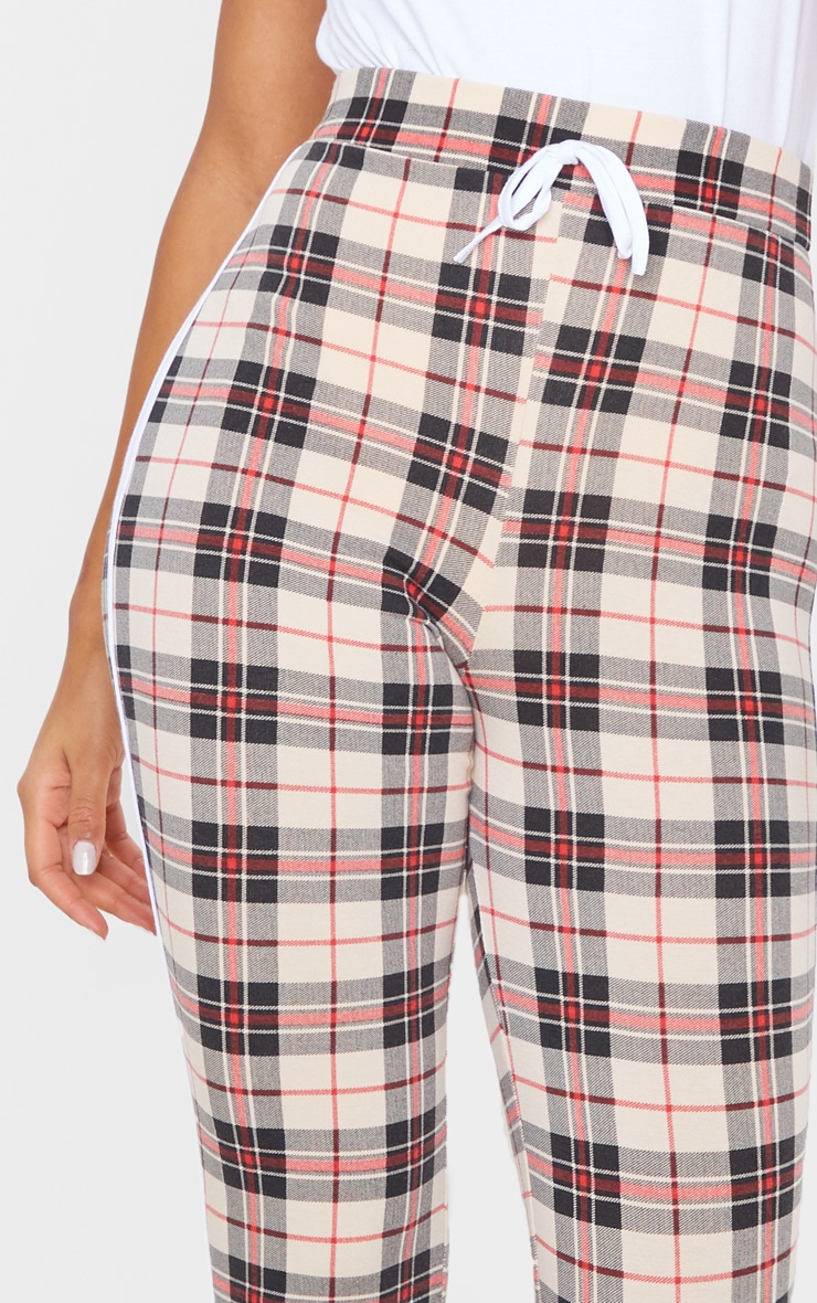 Stone Contrast Binding Check Tie Waist Detail Legging 5