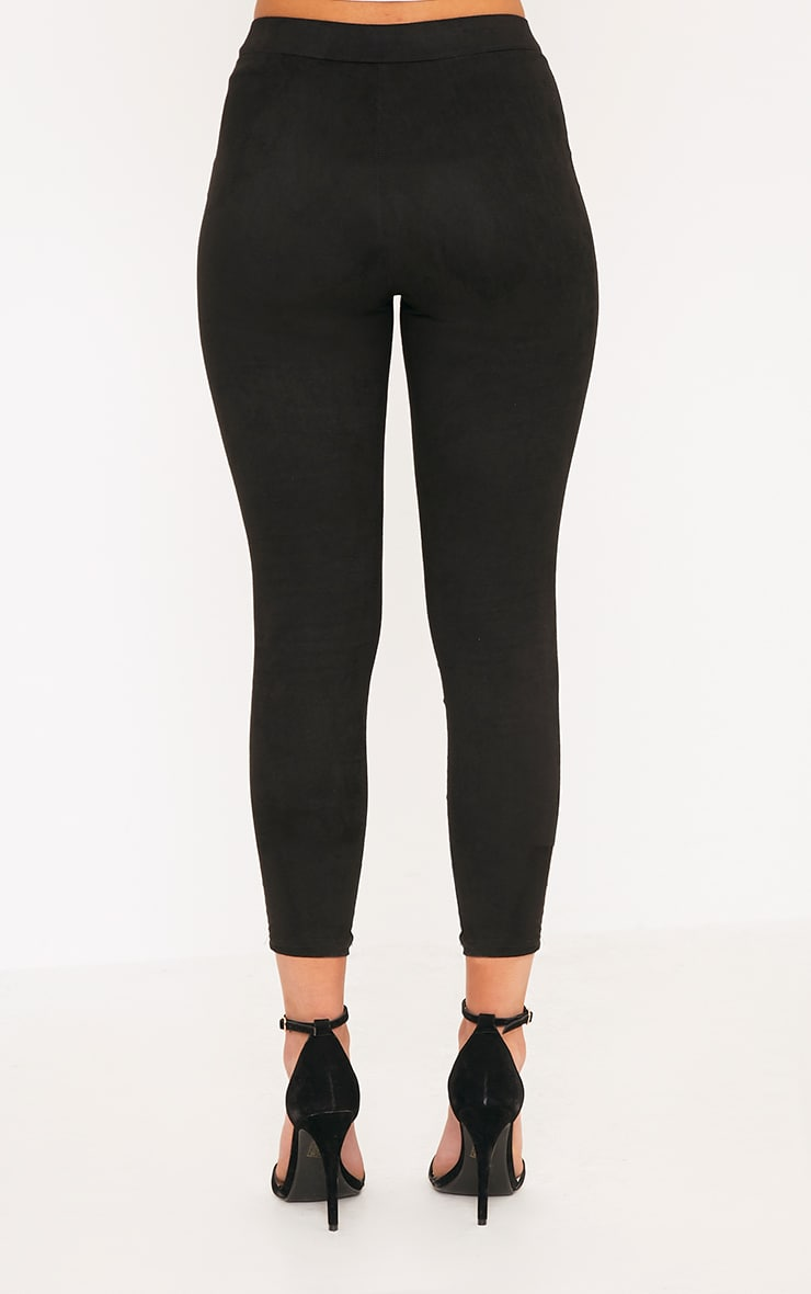 Kristy Black Faux Suede Knee Panel Cropped Trousers 4