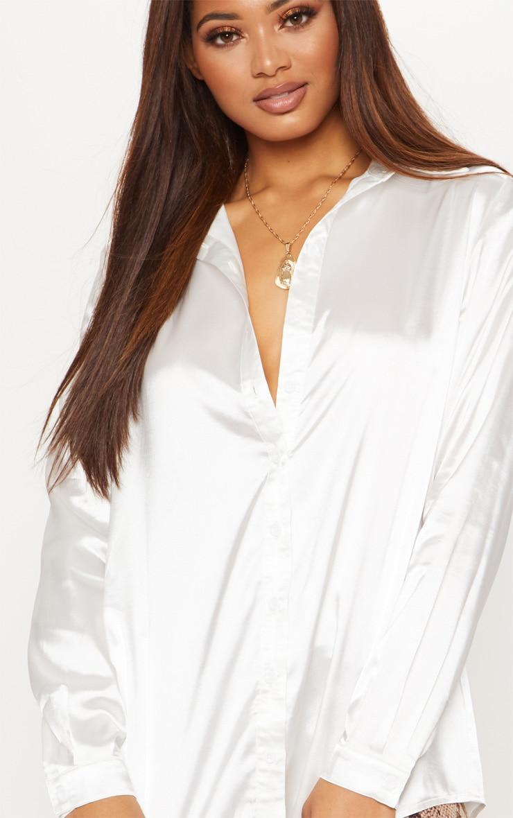 Tall White Satin Oversized Shirt 5