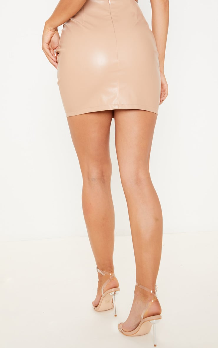 Nude PU Mini Skirt 4