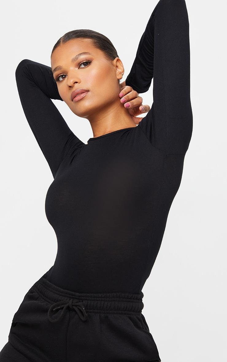 Basic Black Crew Neck Long Sleeve Bodysuit 4