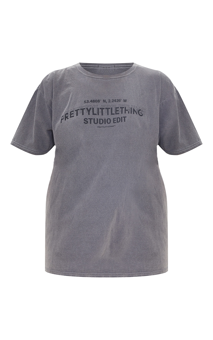 PRETTYLITTLETHING Black Studio Washed T Shirt 5