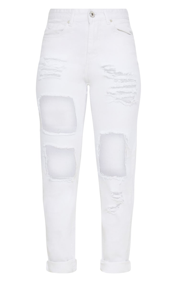 White Open Front Mom Jean 3