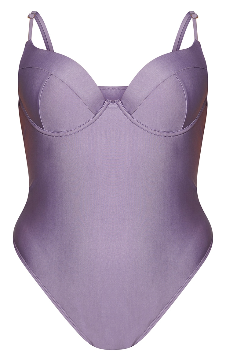 Plus Aubergine Cup Detail Swimsuit 5