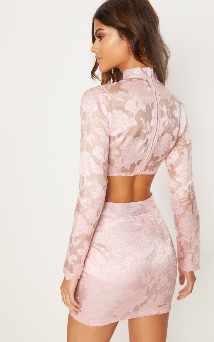 Rose Embroidered Mesh High Neck Crop Top 2