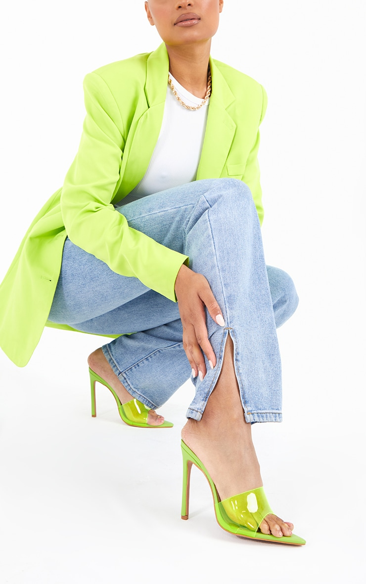 Lime Pointed Clear High Heeled Mules 1