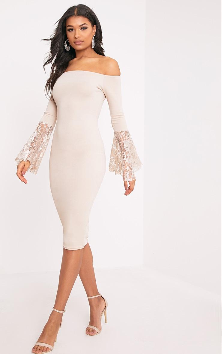 Tayler Nude Bardot Lace Flared Sleeve Midi Dress 1