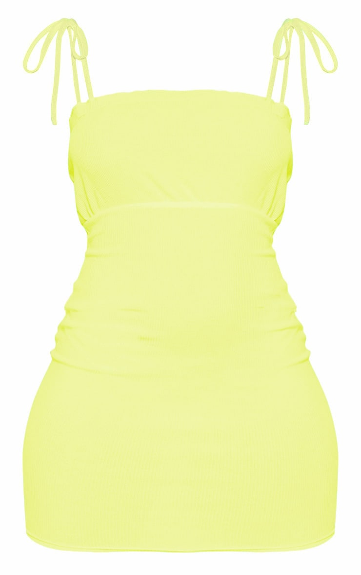 Neon Yellow Ribbed Frill Detail Tie Strap Bodycon Dress 3